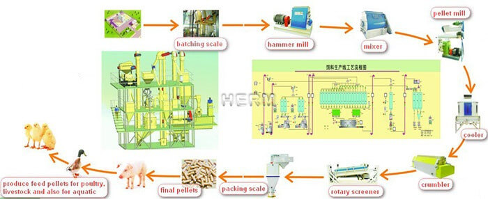 feed pellet production line working process